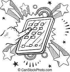 dispositivo, bosquejo, móvil