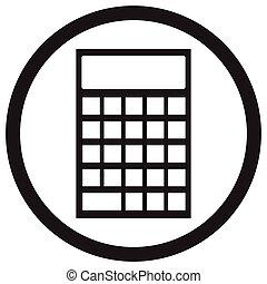 dispositivo, calculadora, icono, negro, blanco
