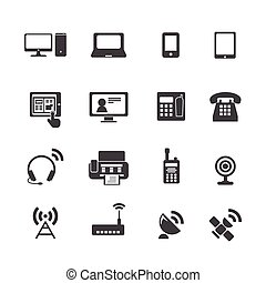 dispositivo, comunicación, iconos