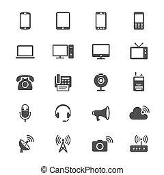 dispositivo, comunicación, plano, iconos
