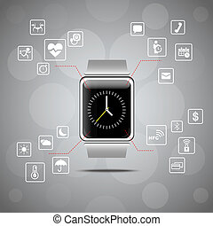 dispositivo, concepto, reloj, wearable, elegante