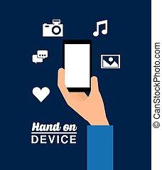 dispositivo, desenho, mão