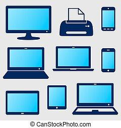 dispositivo, digital, ícones