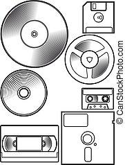 dispositivo, disquete, antigas
