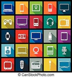dispositivo electrónico, plano, diseño, iconos