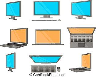 dispositivo electrónico, plano, iconos