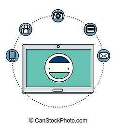 dispositivo, eletrônico, ecommerce, tabuleta, ícones
