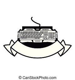 dispositivo, emblema, gamer, teclado