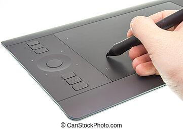 dispositivo, gráfico, trabajando, tableta