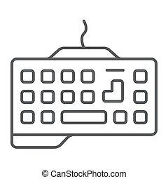 dispositivo, icono, juego, gráficos, lineal, patrón, delgado, telclado numérico, teclado, tecnología, señal, vector, fondo., línea, blanco