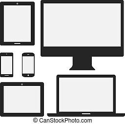 dispositivo, iconos, electrónico