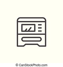 dispositivo, multifunctional, impresión, línea, icono