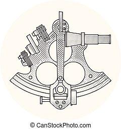 dispositivo, -, náutico, navegación, astrolabio, sextante, vendimia, aislado, fondo blanco, antiguo