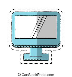 dispositivo, pantalla, tecnología computadora, caricatura