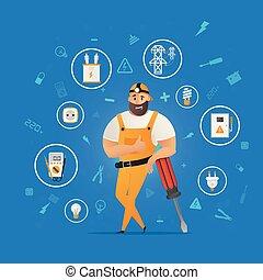 dispositivo, personagem, elétrico, trabalhador, equipamento