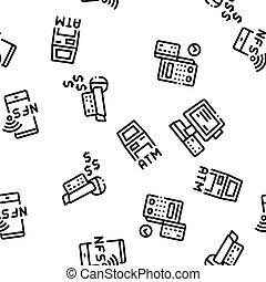 dispositivo, pos, patrón, seamless, terminal, vector