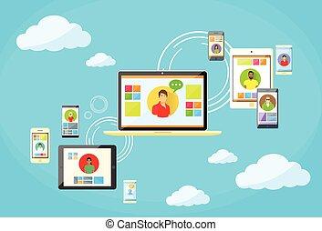 dispositivo, red, comunicación, social, conexión de internet...