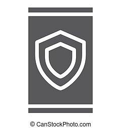 dispositivo, seguridad, glyph, icono, datos, y, protección, seguridad, señal, vector, gráficos, un, sólido, patrón, en, un, blanco, fondo.