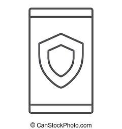 dispositivo, seguridad, línea fina, icono, datos, y, protección, seguridad, señal, vector, gráficos, un, lineal, patrón, en, un, blanco, fondo.