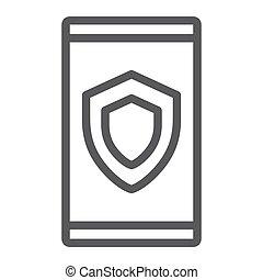 dispositivo, seguridad, línea, icono, datos, y, protección, seguridad, señal, vector, gráficos, un, lineal, patrón, en, un, blanco, fondo.