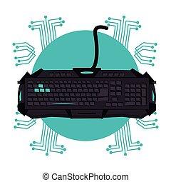 dispositivo, techno, emblema, gamer, teclado