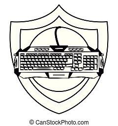 dispositivo, teclado, emblema, protector, gamer
