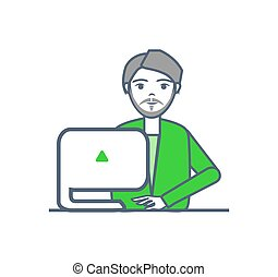 dispositivo, trabalhador, isolado, vetorial, macho, laptop, esperto