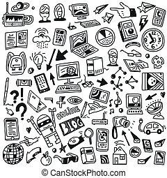 dispositivos, computadoras, tecnología, -, doodles, conjunto
