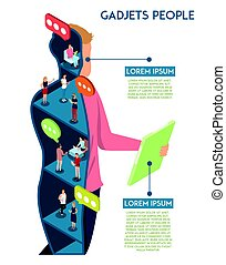 dispositivos, comunicação, conceito, human