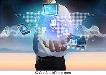 dispositivos, de conexión, presentación, hombre de negocios,...