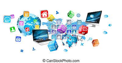 dispositivos, e, ícones, aplicações, conectando, para, um ao...
