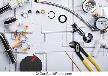 dispositivos elétricos encanamento, ligado, blueprint