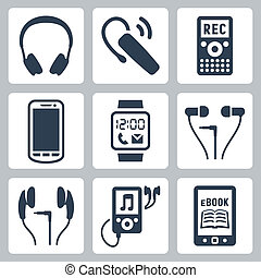 dispositivos, fones, headset, ícones, ebook, jogador, sem...