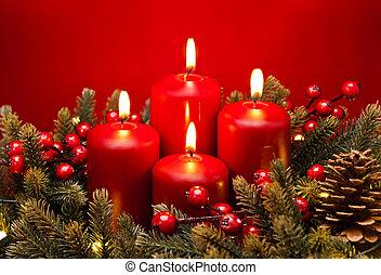 disposizione, candela, fiore, rosso, 4, avvento