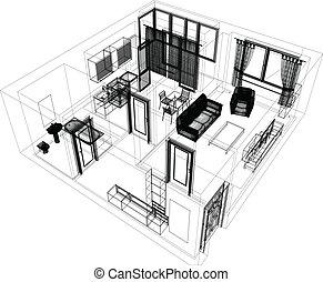 disposizione, di, il, appartamento
