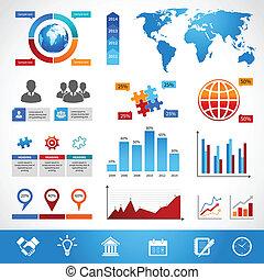 disposizione, elementi, disegno, affari, infographics