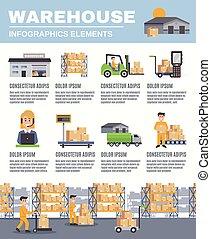 disposizione, magazzino, infographics