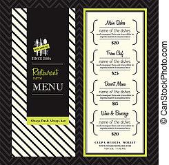 disposizione, menu ristorante, moderno, disegno, sagoma