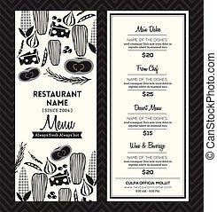 disposizione, menu ristorante, nero, sagoma, disegno, bianco
