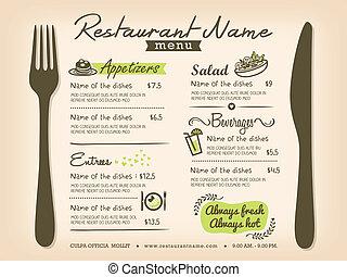 disposizione, menu ristorante, placemat, disegno, sagoma