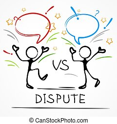 Dispute, business meeting, stick figures with dialog speech bubbles, linear. Vector illustration.