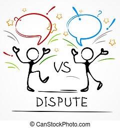 Dispute, business meeting, stick figures with dialog speech ...