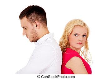 disputer, conversation, autre, chaque, pas, couple