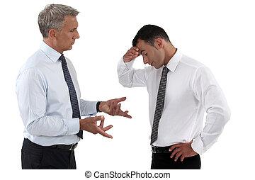 disputer, hommes affaires