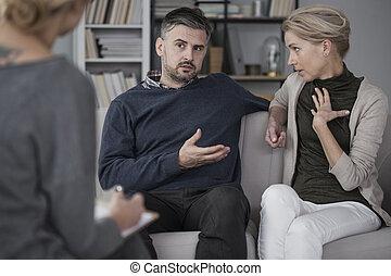 disputer, thérapeute, couple