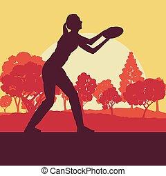 disque, femme, voler, parc, arbres, jouant jeu, vecteur, jeter