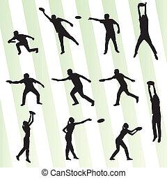 disque, lanceur, et, preneur, actif, gens, sport, fond,...