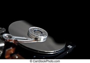 disque, ouvert, dur, arrière-plan noir