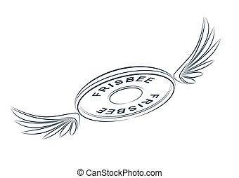 disque, résumé, frisbee, conception, ailes