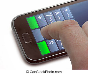 disque um número, ligado, um, tela toque, telefone